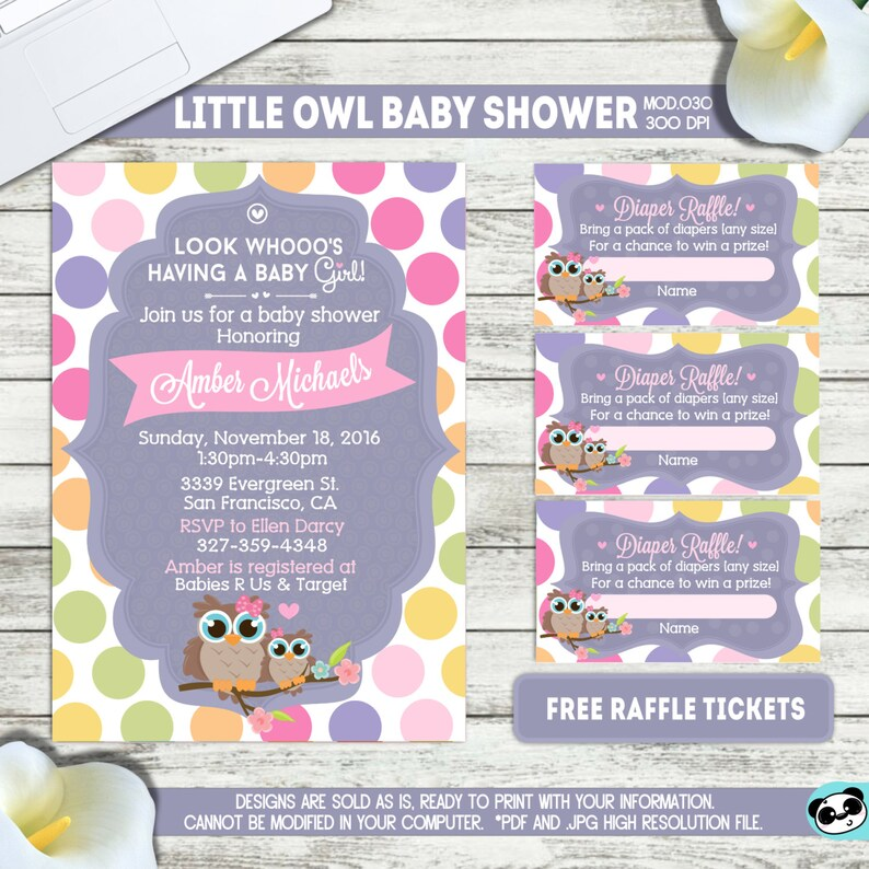PRINTABLE or PRINTED Little Owl Baby shower invitation   Etsy