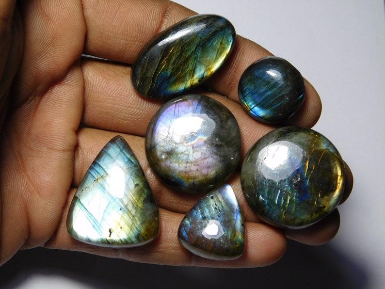 Natural Labradorite Spectrolite Cabochon Fine quality Labradorite Handmade Gemstone loose stone 199Cts 6 pcs Lot