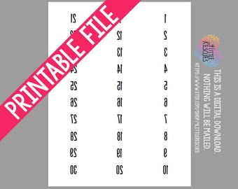 photo about Free Printable Mirrored Numbers named Printable: Ahead AND Opposite/Reflect Picture Labels Tags Etsy