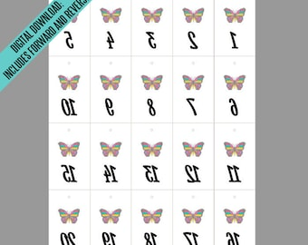 LLR Butterfly Facebook Live Sale Reverse & Forward Numbers 1-500 | Mirror Image Tags | Backwards Inventory Cards | 20 per Page Printable PDF