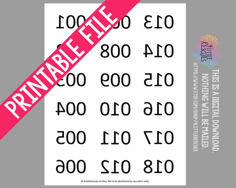 graphic about Printable Numbers 1-100 known as Printable: Replicate Impression (Opposite) Backwards Quantities 1-180 / Numbered Merchandise Stock Tag / Tags for Dwell Product sales in the direction of 180