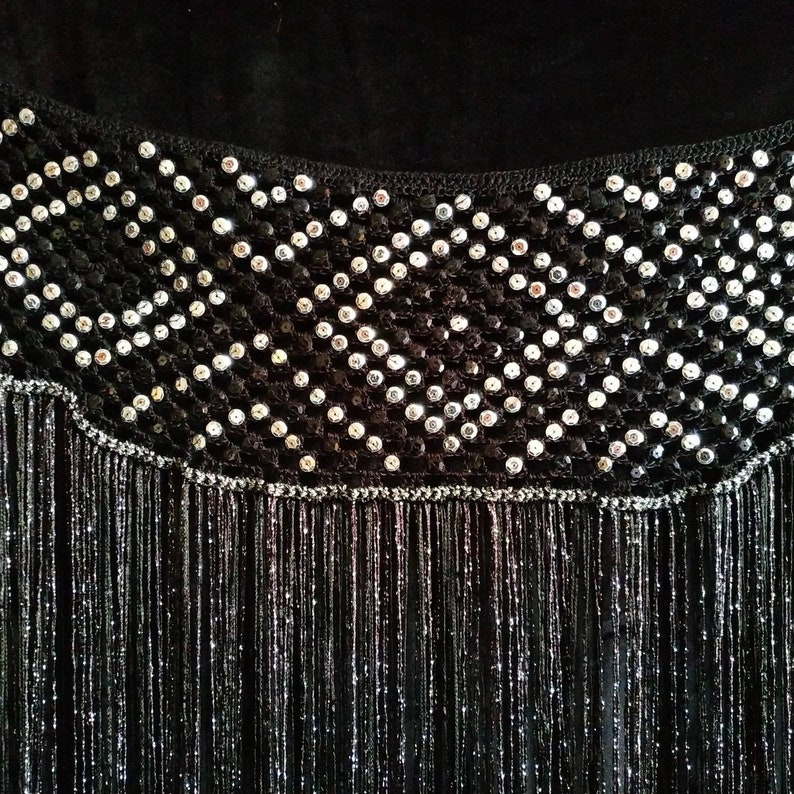 Dimond black and silver crochet tribal belly dance belt hip scarf with long fringe