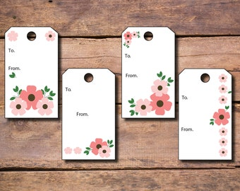 Spring Pink Flower Gift Tag To / From