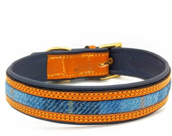 Tan leather on Blue leather with a Blue Harris tweed Inlay and Yellow stitching