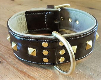 Brown on Cream leather dog collar with studs and Solid Brass hardware