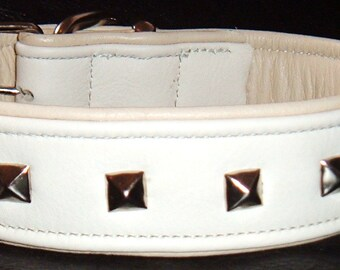 White on Cream leather dog collar with studs