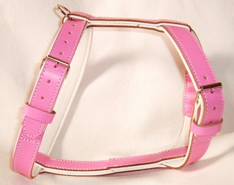 Pink on White leather dog harness with nickle hardware