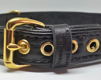 Black leather studded dog collar with diamante's and solid brass hardware
