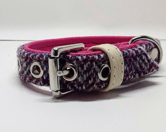 Genuine Pink & Purple Harris tweed and Pink leather dog collar with Nickle plate hardware for small dogs