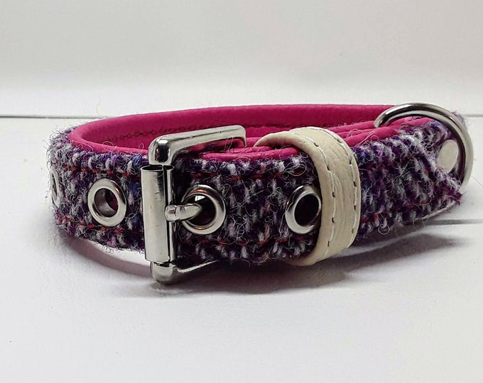Featured listing image: Genuine Pink & Purple Harris tweed and Pink leather dog collar with Nickle plate hardware for small dogs