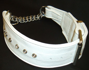 White leather Martingale dog collar with diamantes