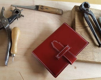 Hand Crafted Red Leather Notebook Cover with fastening strap