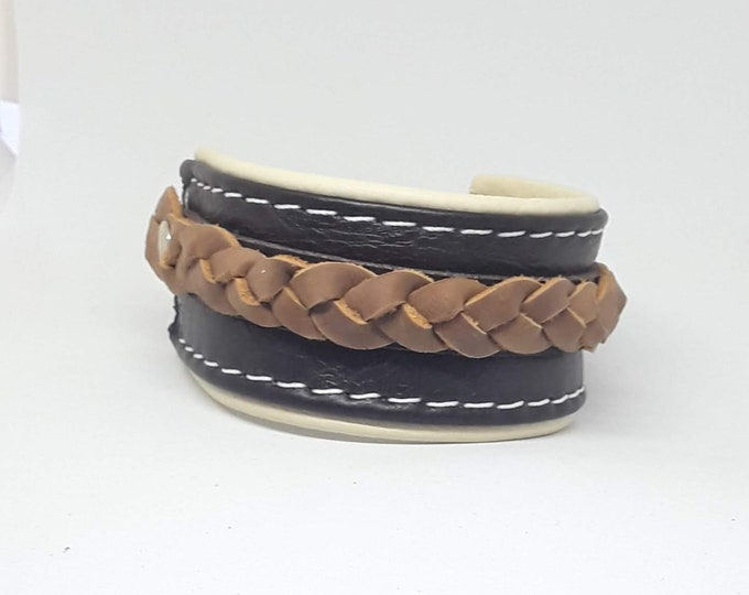 Featured listing image: Hand Crafted Unisex Dark Brown on Cream Leather Wrist Cuff with Tan Leather Braiding and buckle fastening