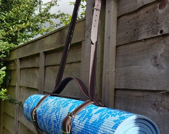Beautifully hand crated dark brown Yoga Mat strap with carry handle and adjustable shoulder strap