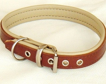 Tan and Cream leather dog collar with Brown Stitching