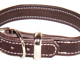 Dark Brown leather dog collar with Cream stitching