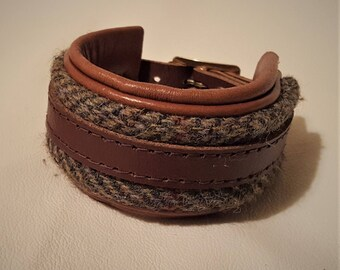 Hand Crafted Chunky Tan Leather Wrist Cuff with Harris Tweed and gold coloured buckle