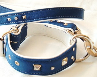 Blue and White leather dog collar with Studs &  Diamantes and Matching Lead Set