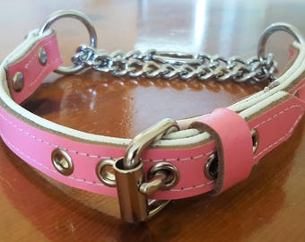 3/4 inch Wide Pink and White leather Martingale dog collar with White Stitching