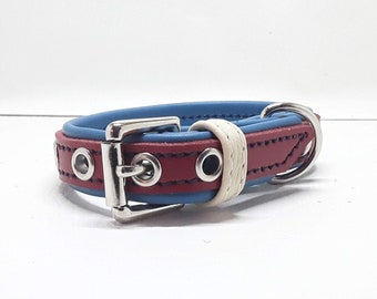 Genuine Red & Blue leather dog collar with Nickle plate hardware for small dogs
