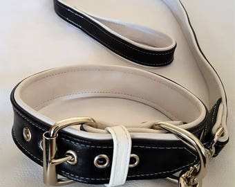 Black and White leather dog collar with White Stitching and Matching Lead Set