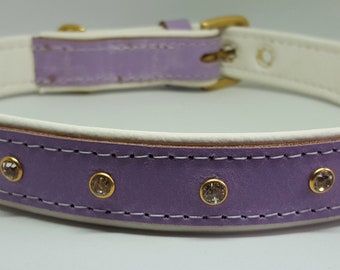 Lavender on white leather dog collar with diamante's and solid brass hardware and white stitching.