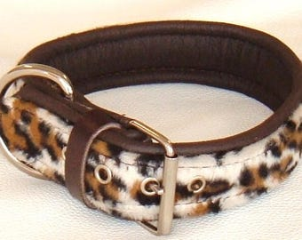 Leopard print faux fur fabric and Brown leather dog collar