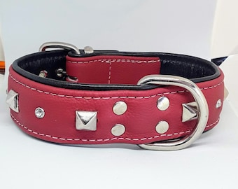Hand crafted Red & Black leather studded dog collar with Diamantes and White Stitching