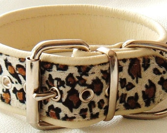 Leopard print faux fur fabric and Cream leather dog collar