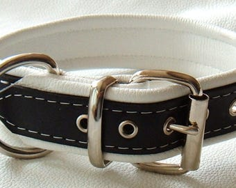 Black and White leather dog collar with White Stitching