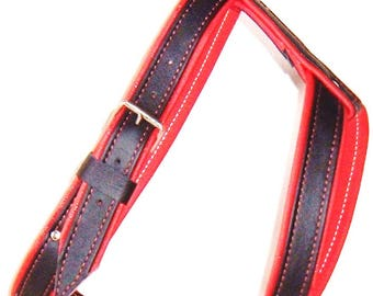Black on Red leather dog harness with nickle hardware and Red stitching