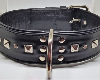 "2"" wide Black  leather dog collar With pyramid studs"