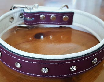 Plum Purple on White leather dog collar with Diamantes and White Stitching