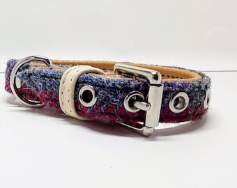 Genuine Multi coloured Harris tweed and Tan leather dog collar with Nickle plate hardware for small dogs