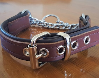 Tan on Brown leather Martingale dog collar with brown Stitching