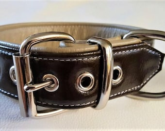 Brown and Cream leather dog collar