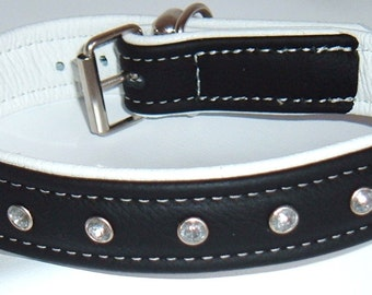 Black on White leather dog collar with Diamantes and White Stitching
