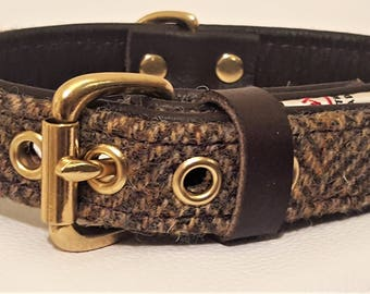 Genuine Green Harris tweed and brown leather dog collar with solid brass hardware