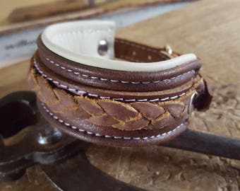 Hand Crafted Unisex Brown on Cream Leather Wrist Cuff with Tan Leather Braiding and buckle fastening