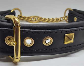 Black on Black studded leather Martingale dog collar with solid brass hardware