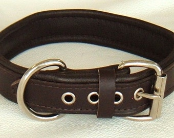 Chunky Plain Black leather dog collar with Black Stitching