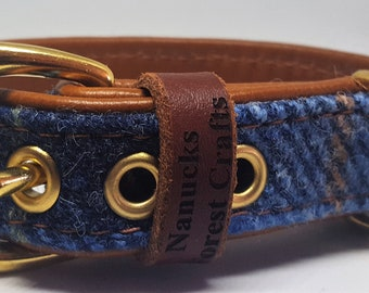 Genuine Blue Harris tweed and Tan leather dog collar with solid brass hardware