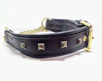 Brown on Black studded leather martingale dog collar. That comes with solid brass hardware, chain and antique brass effect pyramid studs.