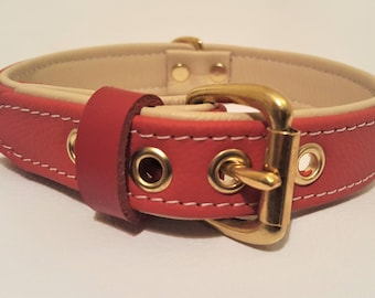 Red on Cream leather dog collar with solid brass hardware and cream stitching.
