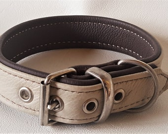 Cream on Brown leather dog collar