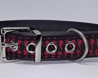 Red and black Houndstooth fabric on Black leather dog collar with nickel  hardware..