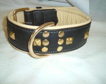 Black on Cream leather dog collar with studs and Solid Brass hardware