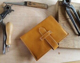 Hand Crafted Sandy Tan Leather Notebook Cover with fastening strap