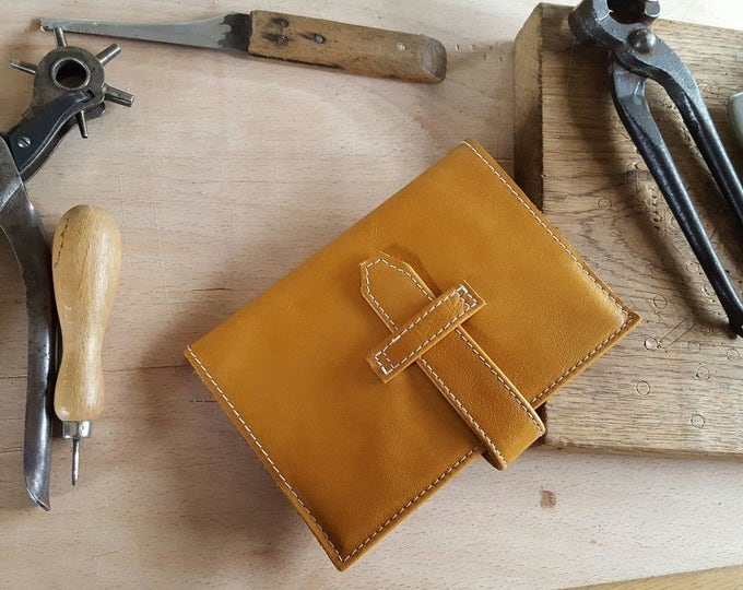 Featured listing image: Hand Crafted Sandy Tan Leather Notebook Cover with fastening strap