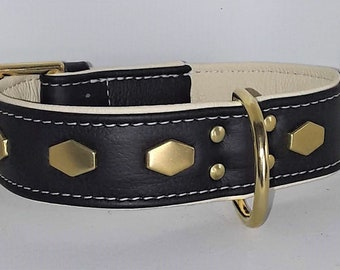 Black on Cream leather dog collar with hexagonal studs and Solid Brass hardware